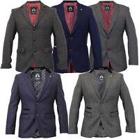 Mens Blazer Marc Darcy Coat Formal Suit Jacket Patches Herringbone Designer New