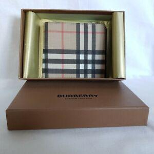 Burberry Tartan Check Bifold Wallet Vintage E-canvas Leather Men's Beige 335$