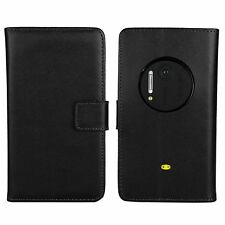 Black Genuine Leather Wallet Money Card Case Cover Stand for Nokia Lumia 1020