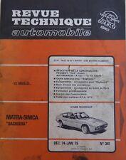 Revue technique MATRA TALBOT SIMCA BAGHEERA  RTA 341 1974/75