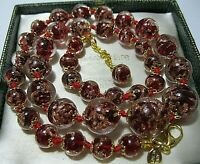 Garnet Red Venetian Murano Glass Gold Foil Bead Graduated Vintage Style NECKLACE