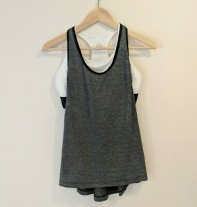 Nike Dry-fit ladies Athletic Sleeveless Tank Top Sz M Medium Grey Marle / White