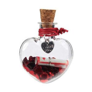 Love Heart Glass Jar Red Confetti Glitter Wish Bottle Gift Pendant Girls