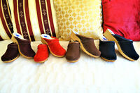 Flamenco Red Brown Dark Blue Swedish style clogs classic Leather Nubuck 6.5 -  9