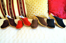 Flamenco Red Brown Dark Blue Swedish style clogs classic Suede  6 - 9.5