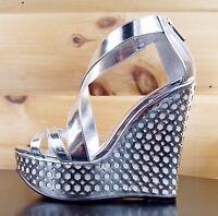 "Luichiny Cor Enna Silver White 5.5"" Heel 1"" Platform Wedge Shoe Sizes 7-11"
