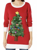 NWOT Blizzard Bay Women's LS Crew Neck Tinsel Tree Tunic Sweater Red Size M