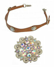 WESTERN HORSE BLING WITHER STRAP TO ATTACH TO THE BREAST COLLAR PLATE BROWN