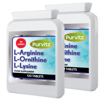 L-Arginine L-Lysine L-Ornithine Increase Muscle Strength Size 240 Tablets