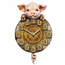 Piggin Tickin Maiale Animale Muro Orologio Pendolo Coda Rustico Fattoria Legno