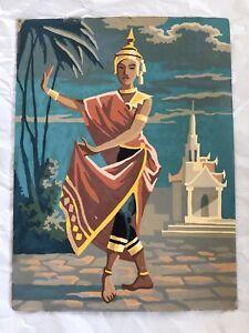 Vtg 12x16 Paint by Number Hindu Indian Goddess Dancer