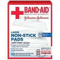 BAND-AID First Aid Non-Stick Pads, Large, 3 in x 4 in, 10 ea (Pack of 5)