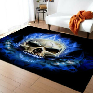 3D Skull Large Area Mat Rugs Rectangular Non-slip Carpets Home Decro