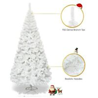 7 ft Xmas Tree White Artificial PVC Christmas Unlit Undecorated Tree With Stand