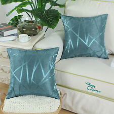 2pcs CaliTime Teal Cushion Cover Pillow Shells Triangles Geometric Decor 45x45cm