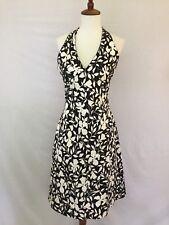 LILLIE RUBIN Size 4 Halter Cocktail Dress With Beading Black & White Floral