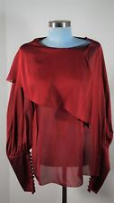 CHANEL 07A 2007 Autumn Scarlet Red Balloon Sleeve Silk Blouse Size 12/44