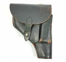 P64 BLACK LEATHER FLAP HOLSTER P-64 PISTOL & MAGAZINE POUCH MILITARY POLISH ARMY