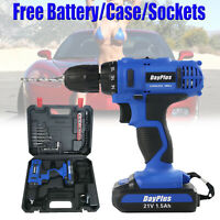 """21V 3/8"""" Electric Cordless Drill Driver Screwdriver 2/Two-Speed & Li-Ion Battery"""