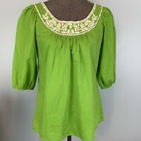Banana Republic Outlet Green Embroidered Scoop Neck Swing Top Sz S 100% Cotton