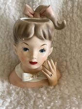 Inarco E1060 Vintage Lady Head Vase Ponytail And Bows
