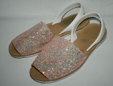 Schuh Women's Leather Glittery Pink White Sandals Summer Flat Shoes Comfy Size40