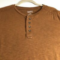 Cremieux  Men's Long Sleeve Henley T Shirt XXL 2XL Brown Casual Pullover