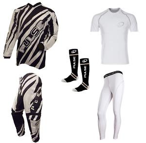 PULSE DIMENSION BLACK MOTOCROSS MX ENDURO QUAD BMX MTB KIT + BASE LAYERS & SOCKS