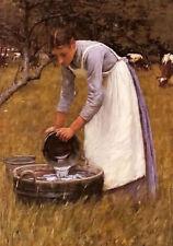 Dream-art oil painting henry herbert la thangue - watering the cows girl working