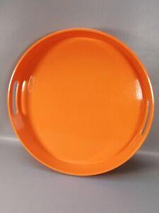 Vintage large round  bright orange melamine serving tray retro kitsch interior