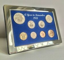 More details for 70th birthday gift  a superb 1951 silver framed coin year set - gift boxed