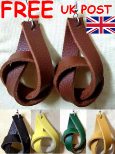 LARGE FAUX LEATHER PLAIT KNOT EARRINGS - Posted from UK - Available in 6 colours
