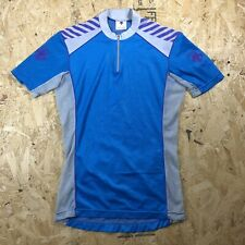 vintage 90s DESCENTE cycling jersey mesh sides lightweight 1/4 zip blue sz M