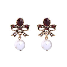 Vintage Gold Wine Red Crystal Bowknot Pearls Ball Earrings