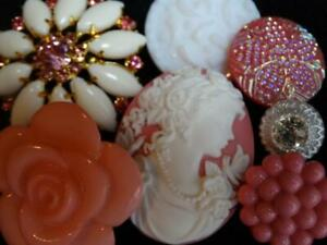 GORGEOUS LACY VINTAGE & NEW BUTTONS Pink Cameo Flower Rhinestone Czech Glass