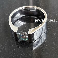 2 ct Off White Blue Moissanite Man`s Engagement Wedding 925 Sterling Silver Ring
