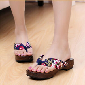 Women Japanese Style Flip Flops Geta Slippers Thong Wooden Slip On Shoes Sandals