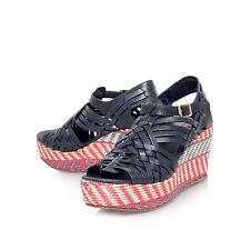 Nuevo Tory Burch Zapatos de cuña de cuero £ 310 Raven.. UK 8.5 nos 10.5