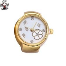 Watch ring gold flowers + gift earrings