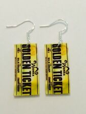 Willie Wonka Golden Ticket Chocolate Movie Earrings HANDMADE PLASTIC CHARMS
