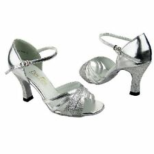 "Salsa Ballroom Latin Dance Shoes Silver heel 3"" Sz 8.5"