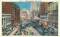 1936 Times Square Trolleys Cars Traffic New York City Postcard
