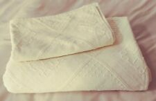 100% Cotton Blanket & Sham Pastel Yellow Made In Portugal Size Double