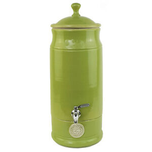 Stoneware Drinking Water Filter Purifier with Cartridge - Lime Green Ultra Slim