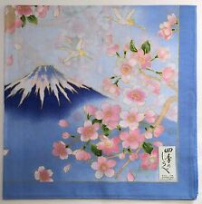 Japanese landscape blue Handkerchief Cherry Blossoms and Mt Fuji from Japan