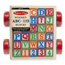CLASSIC ABC 123 BLOCK CART # 1169  ~ 30 Wooden Blocks~ Melissa and Doug