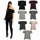 Womens Ladies Flared Sleeve Bardot Off The Shoulder Swing Gypsy Top