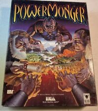 "PowerMonger PC Game Complete Box, IBM 5.25"" Floppy Disks, Electronic Arts 1992"