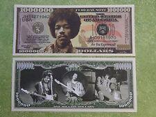JIMI HENDRIX Super Guitar Rock Star ~*~ $1,000,000 One Million Dollar Bill ~ USA