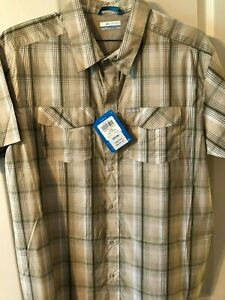 Columbia Print Cotton Casting/Adventure Short-Sleeve Shirt L New With Tags